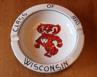 on sale Vintage University of Wisconsin Madison Bucky Badger Class of 1970 Ceramic Ashtray
