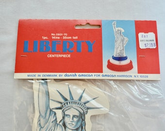 Vintage STATUE Of LIBERTY honeycomb tissue paper decoration made in DENMARK new in package