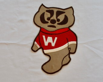 Vintage BUCKY BADGER giant iron on fabric patch sew on