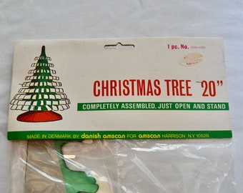 Vintage CHRISTMAS TREE honeycomb tissue paper decoration made in DENMARK new in package