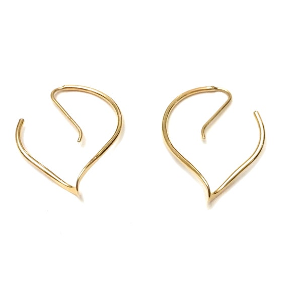 b41592532b8a7 14k Gold Spiral Hoops, Modern Minimalist 14k Gold Hoop Earrings, Goldsmith  Spiral Earrings, 14k Yellow Gold Earrings, Architectural Jewelry