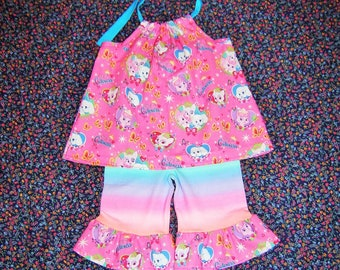 1b7257c8226f Boutique Girl Summer Puppy Princess Outfit 2T toddler Halter Top Striped  Stretch Shorts Multi-colored