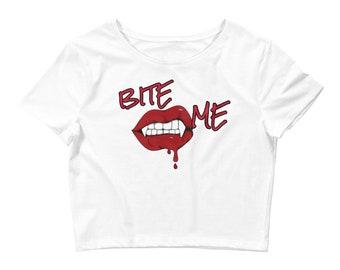 Alternative Clothing Women Crop Top Vampire Aesthetic Organic Crop Tee