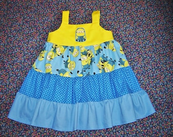 ff4e99be6e7 Boutique Girls Minions Dress 12m, 18m, 2T, 3T, 4T, 5, 6, 7, 8 Despicable Me  Stuart Tank Twirl Dress