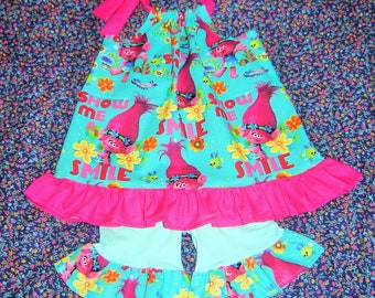 6c2fb50f95a0 Poppy Troll Halter Top & Shorts Outfit 12m, 18m, 2T, 3T, 4T, 5T, 6 Toddler  Girls Boutique Shirt blouse pants