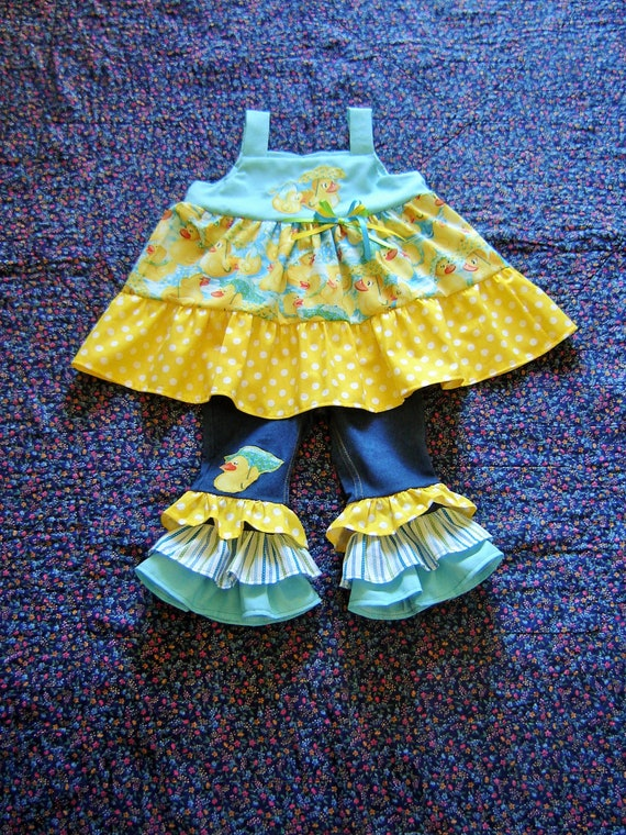 cb09d1466 Boutique Infant Toddler My Rubber Ducky Girls Outfit 12m 18m
