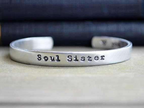 Hand Stamped Aluminum Cuff Bracelet Set of 2 Sorority Sisters Besties Bff Friendship Bracelets Best Friends Personalized Gift