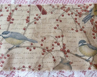 Distressed Vintage Inspired Christmas Fabric Ribbon, Birds with Berries, Christmas Crafting, Scrapbooking Ideas