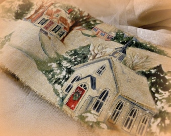 Very Vintage Christmas Ribbon with Assortment of Churches - DISTRESSED SOFTLY