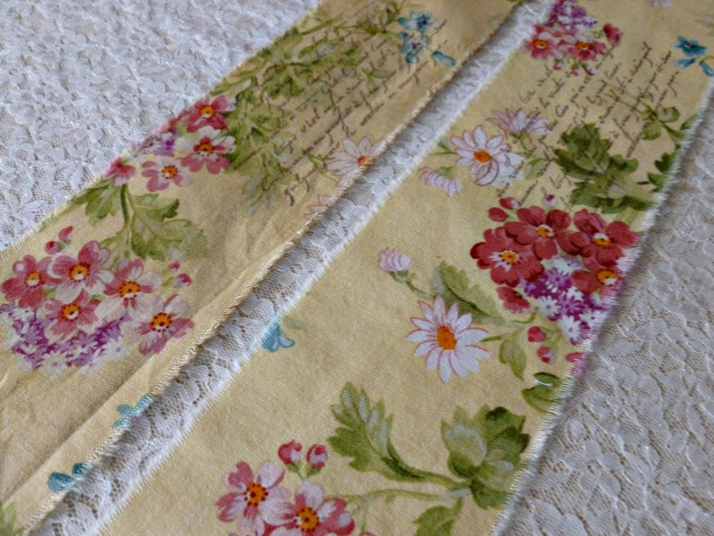 You CHOOSE either Distressed or Natural in Color  52 INCHES Long French Floral Handmade Ribbon with French Script