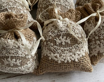 Burlap with Lace Sachets with Satin Ribbon Tie, Bridal Shower Sachets, Bridal Party Gifts Party gifts. Dried Lavender Sachet SET