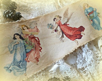 Softly Distressed Vintage Inspired Assorted Angel Fabric Ribbon, Christmas Angel Ribbon, Christmas Decorating Ribbon
