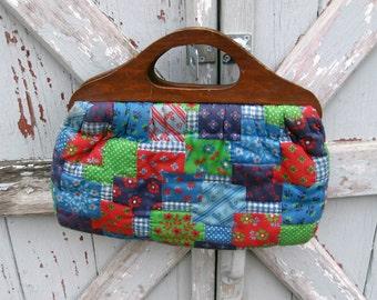 Vintage 1970s faux patchwork cheater quilt purse