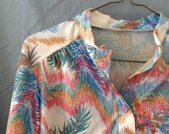 Vintage 70s / 80s colorful blouse with waist tie, size small