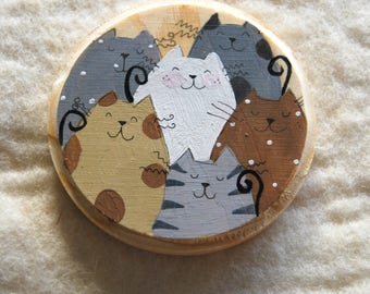 Maxi wooden magnet hand Painted cat cats