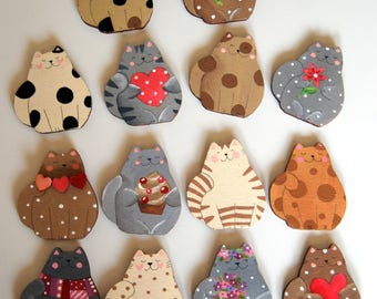 wooden hand painted cat magnet