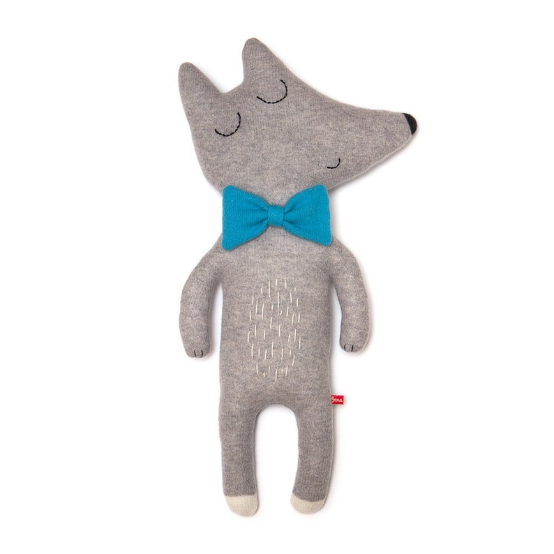 Mr Wolf Large Lambswool Plush Toy  Made to order image 0