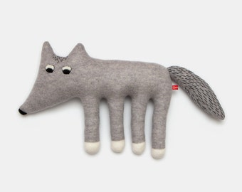 Large Walter the Wolf Knitted Lambswool Soft Toy Plush - Made to ordev