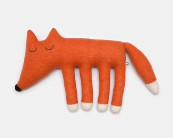 Large Monty Fox Knitted Lambswool Soft Toy Plush - Made to order