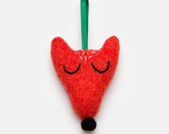 Lambswool Fox Christmas Tree Decoration - Made to order