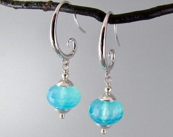 20% OFF Turquoise Blue Chalcedony and Sterling Silver Dangle Earring