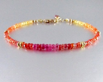 20% OFF Faceted Pink Sapphire and Orange Padparadscha Sapphire Bracelet, Gold And Sapphire Bracelet, Colorful  Bracelet