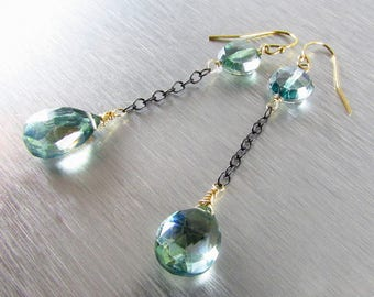 Mystic Green Quartz With Oxidized Sterling Silver And Gold Earrings