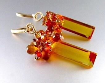 20% OFF Quartz, Sapphire, Mandarin Garnet and Zircon GF Cluster Baguette Earrings