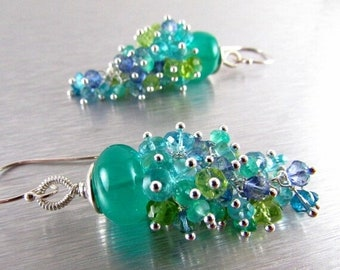 20% OFF Green Onyx and Apatite, Peridot, and Quartz Gemstone Cluster With Sterling Silver Dangle Earrings