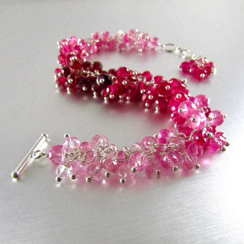 20 /% Off Ombre/' Pink Sapphire With Sterling Silver Cluster Bracelet