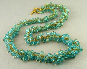 1/2 Off - Aqua Blue Apatite Cluster Necklace