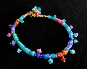 20% OFF Colorful Layering Opal  Bracelet With Gold Fill, Adjustable Bracelet