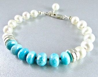 20% OFF Blue Moonstone And Pearl Sterling Silver Bracelet