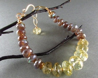 20% OFF Citrine With Brown Mystic Labradorite Chunky Gold Filled Bracelet