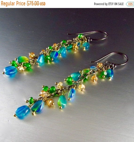 ebffe735d8305 20 % Off Opal And Sapphire Fringe Earrings With Mixed Metal
