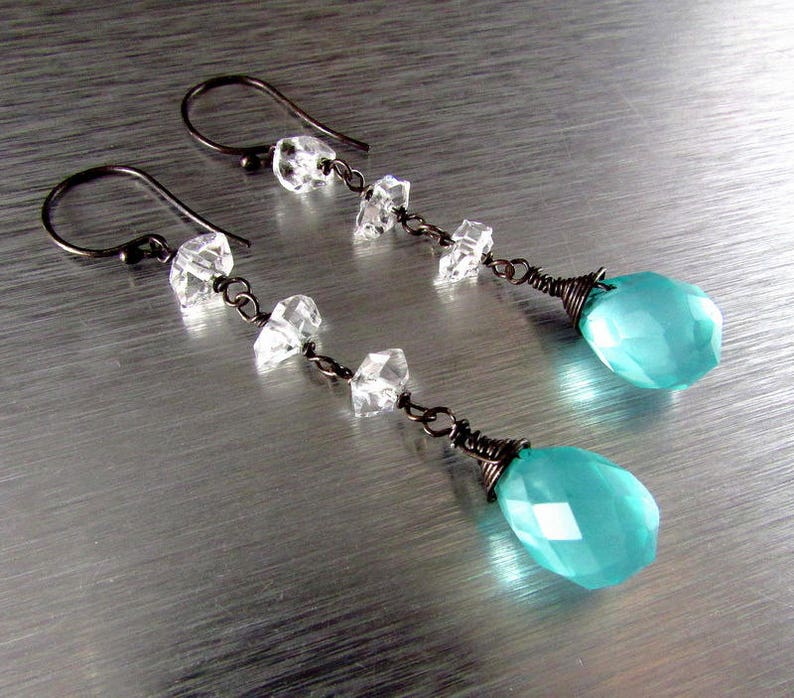 20 /% Off Aqua Turquoise Blue Quartz With Herkimer Diamond Oxidized Sterling Silver Earrings