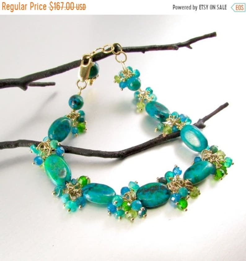Apatite 20 OFF Chrysocolla With Opals Chrome Diopside and Peridot Gold Filled Cluster Bracelet