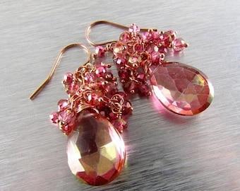 20% Off Pink Mystic Quartz Rose Gold Cluster Earrings
