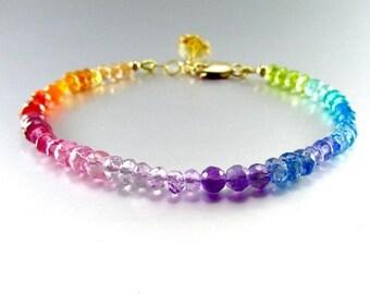 20% OFF Colorful Mixed Gemstone, Rainbow Stacking Bracelet