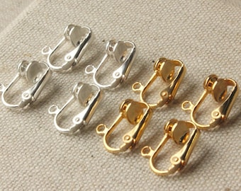 Clip on earring converter Gold and silver findings clip adapters silver plated Clip-ons non pierced ears change pierced over to clip