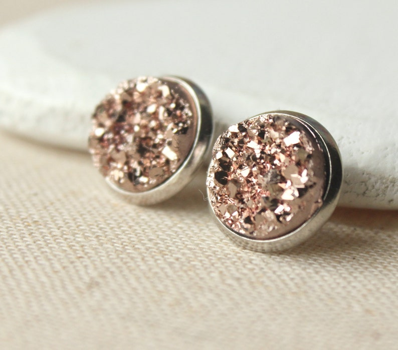 7a5dc28cb Rose Gold Druzy rose gold Druzy STUD Earrings or CLIP ons | Etsy