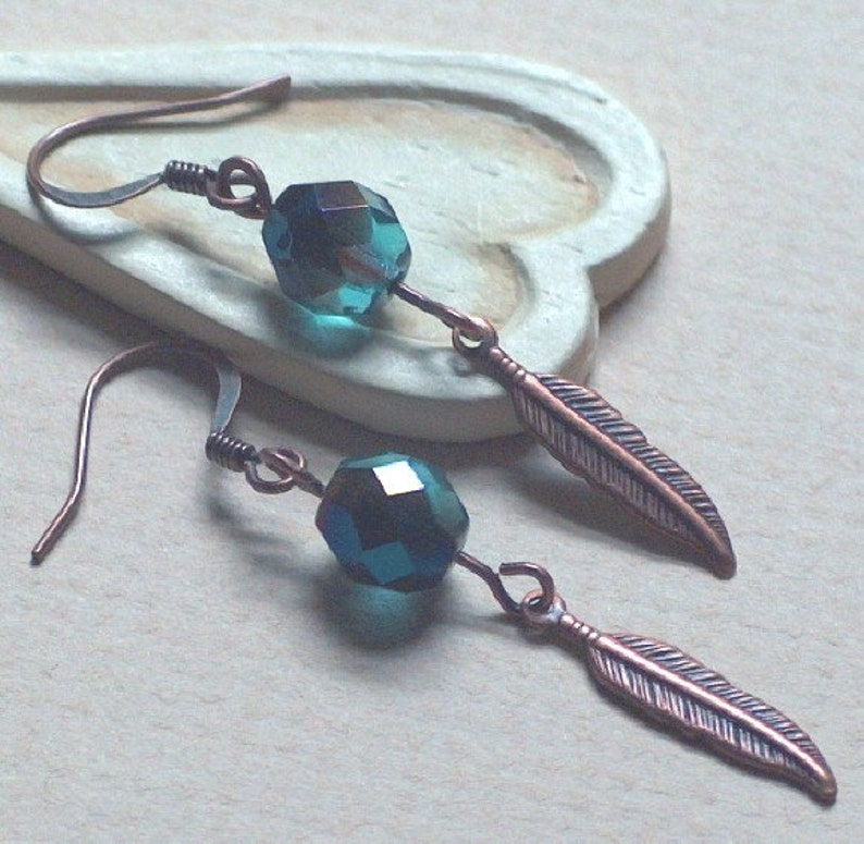 Copper Feather Earrings HOOKS or clip long dangle clip Earring dark Teal Emerald crystal Boucles D/'Oreilles Delicate  E221