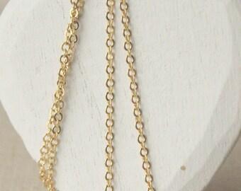 Fin or chaîne collier 14-45 pouces 16K petite chaîne en or 2mm ovale liens chaine en plaqué or jaune maillons plats collier chaîne délicate en or SF66