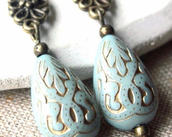 Pale Blue Clip-on Earrings or hooks Duck Egg Blue Clip Earrings Elegant Clip or pierced Boucle D'Oreilles Edwardian carved Earring E419