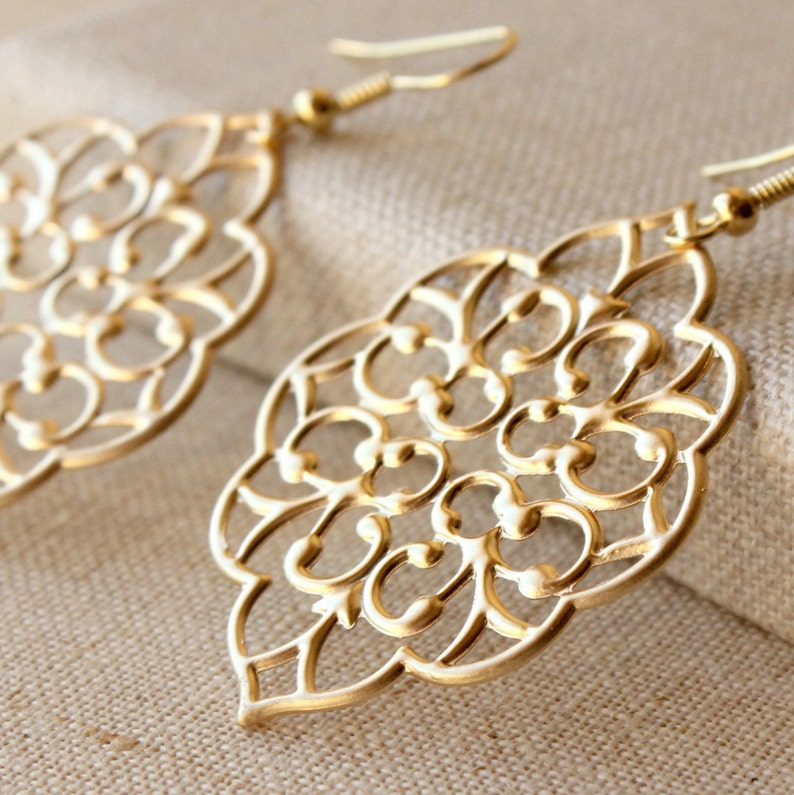 82e1a7faf7f Large Gold filigree dangle earrings, Moroccan drop earrings, choose HOOKS  or Clips, Large Matte Gold statement E366