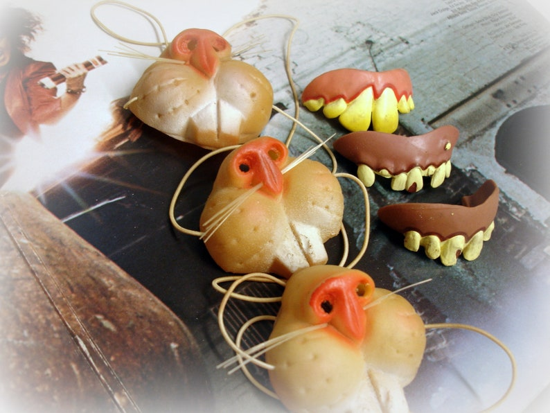 6 Vintage Halloween Noses and Teeth Fun for the ENTIRE Family! 3 Rubber Cat  Noses 3 Bad Teeth Costume Accessories Vintage Halloween