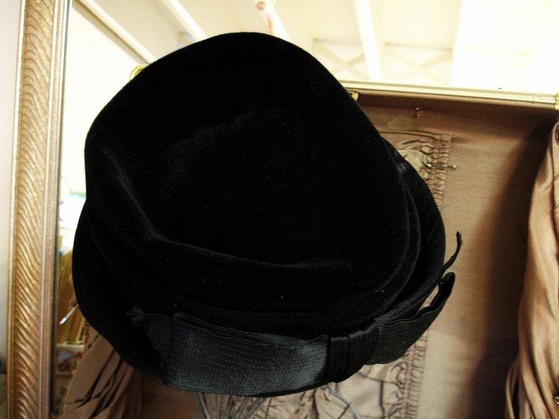 SALE Ladies Vintage Black Velvet Bowler Hat Made in FRANCE Black Velvet Hat with BIG Black Satin Bow