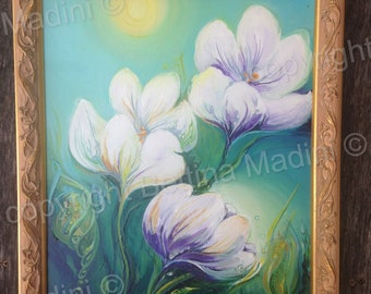 Spring Morning - beautiful original painting - the energy of crocusses and fairies