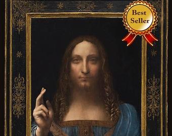 Salvator Mundi  ~ Savior of the World ~ Leonardo DaVinci ~ Fine Art Print - Wall Art Classic - Jesus Christ Painting - Religious Decor