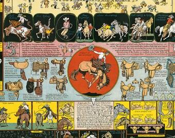 Cowboy Poster~ Jo Mora ~ Rodeo History ~ Rodeo Art -Cowboy art~ Cowboy Cartoon Poster ~ Boys Room Decor ~ Western Decor ~ Wild West Art